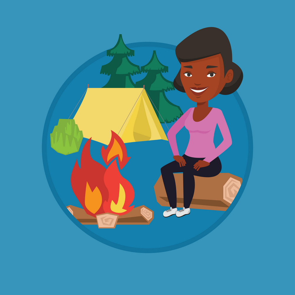 Woman sitting near a campfire at a campsite. Travelling woman sitting on a log near a campfire. Tourist relaxing near campfire. Vector flat design illustration in the circle isolated on background.