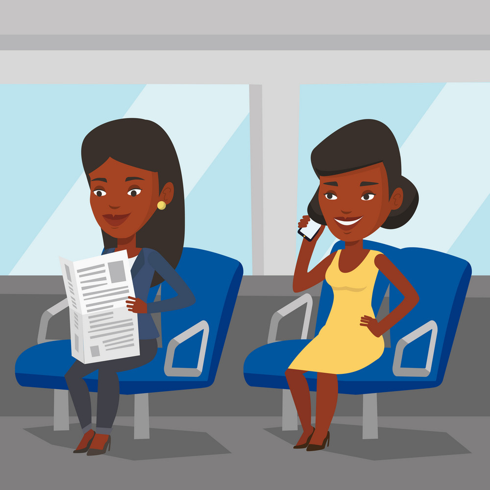 Woman using mobile phone while traveling by public transport. African woman reading newspaper in public transport. People traveling by public transport. Vector flat design illustration. Square layout.