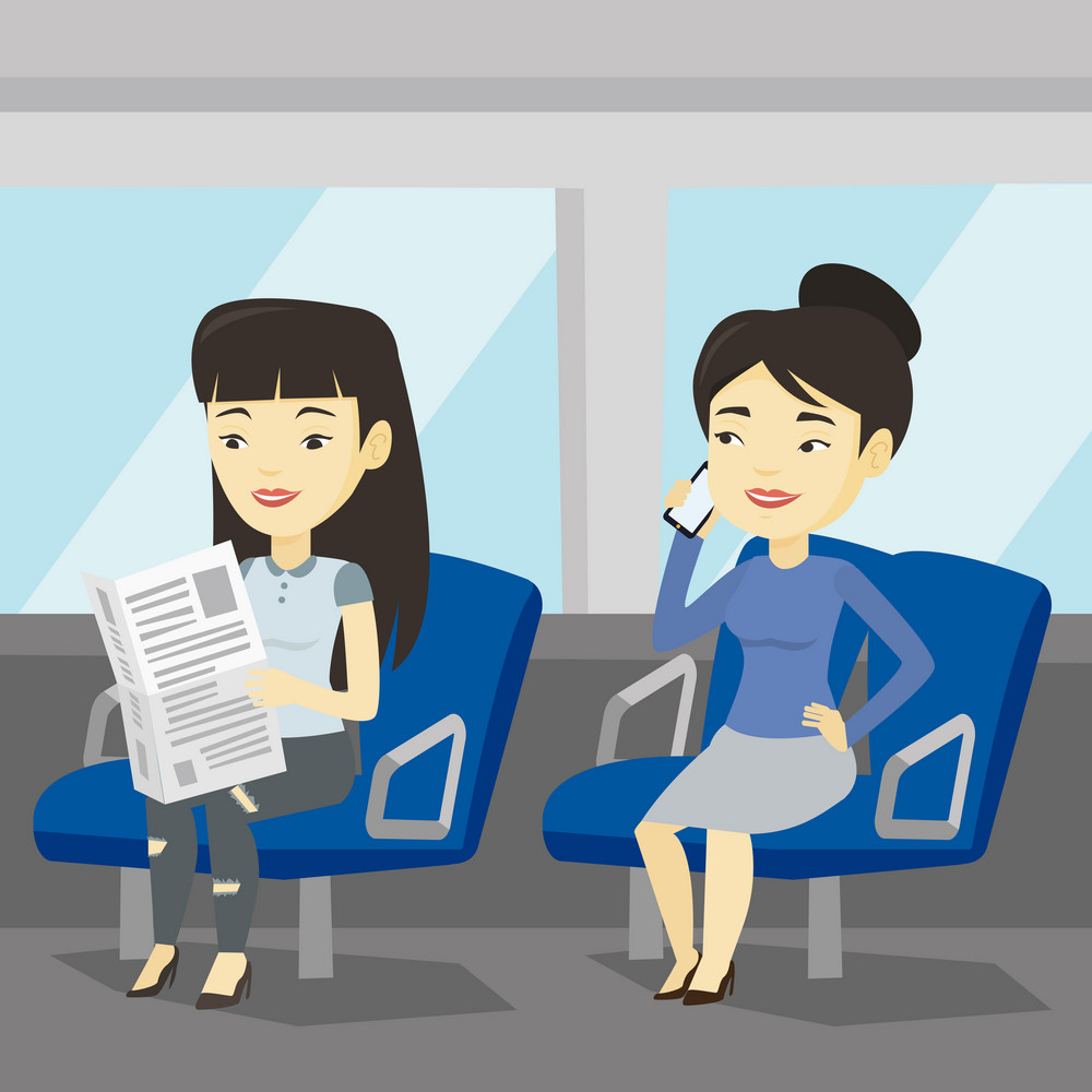 Woman using mobile phone while traveling by public transport. Asian woman reading newspaper in public transport. People traveling by public transport. Vector flat design illustration. Square layout.