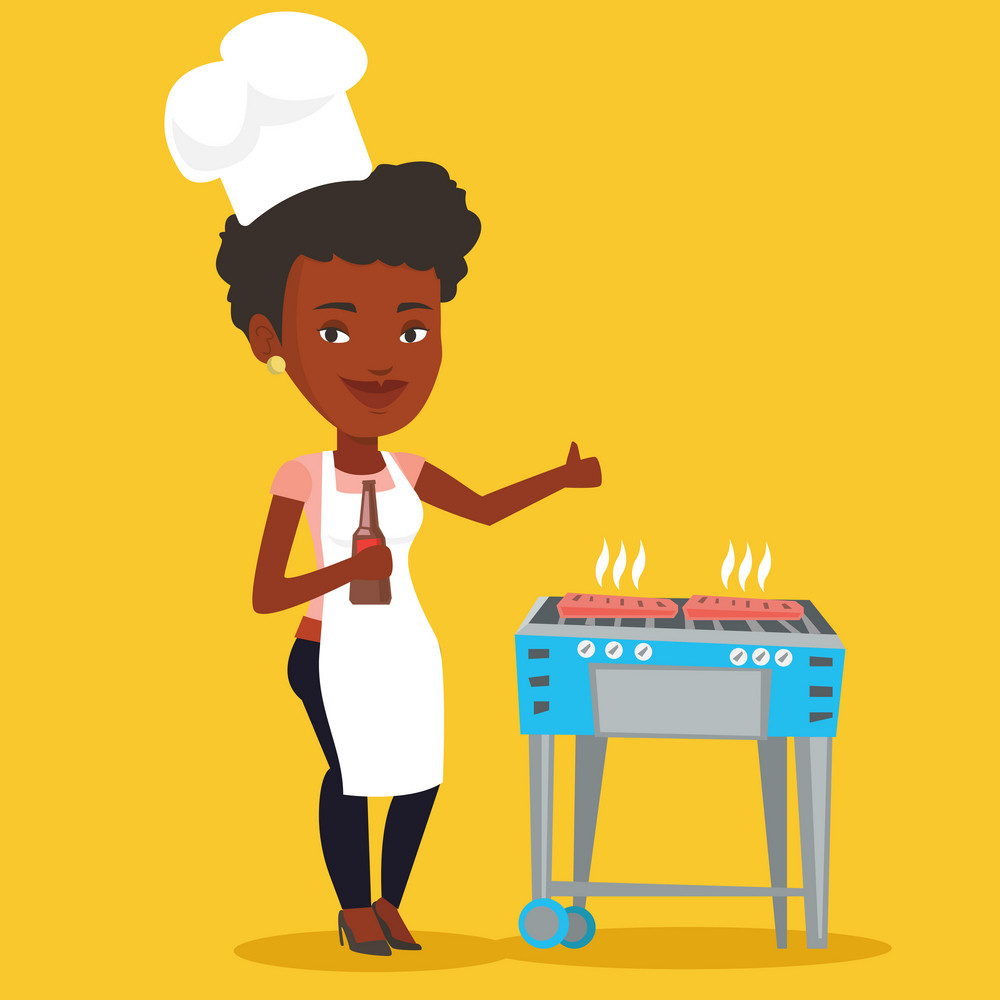 Woman with bottle in hand cooking steak on gas barbecue grill and giving thumb up. African-american woman cooking steak on the barbecue grill outdoors. Vector flat design illustration. Square layout.