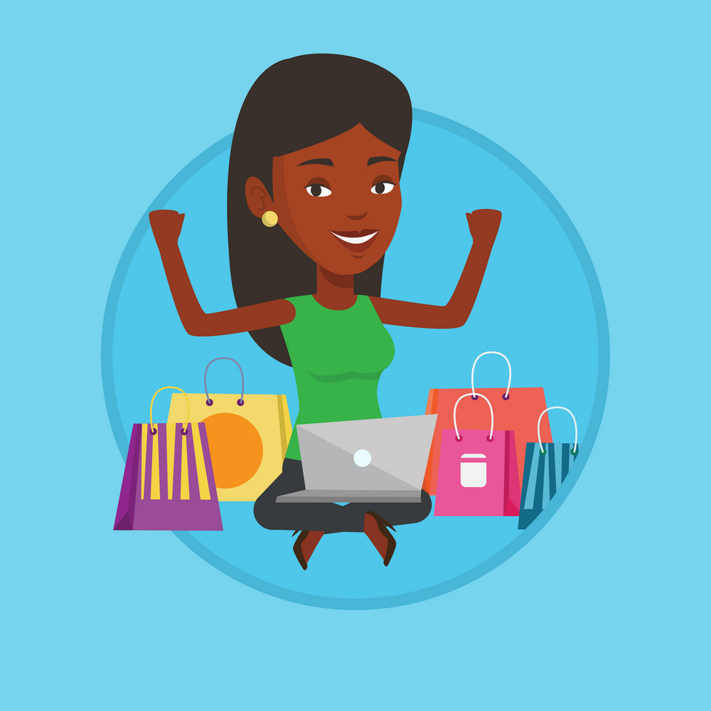 Woman with hands up using laptop for shopping online. Woman sitting with shopping bags around her. Woman doing online shopping. Vector flat design illustration in the circle isolated on background.