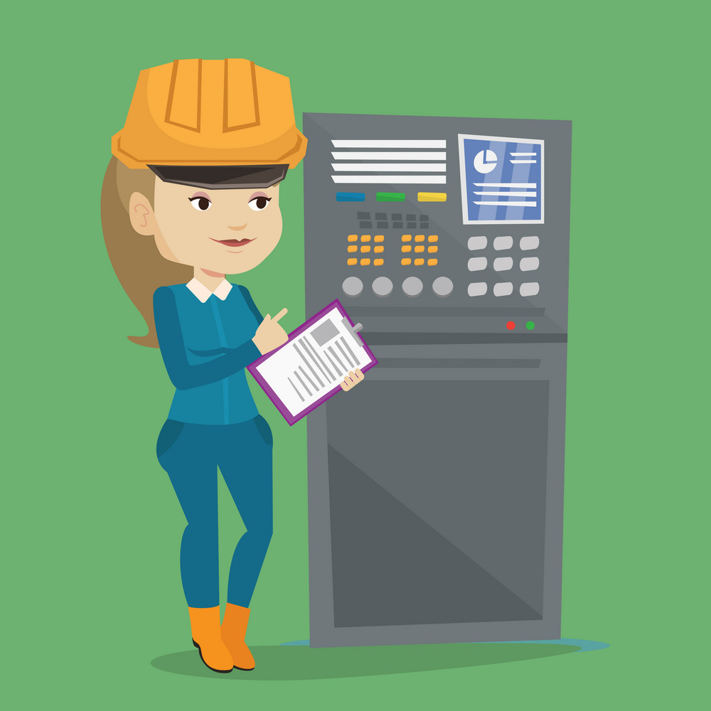 Woman working on control panel. Worker in hard hat pressing button at control panel. Engineer with clipboard standing in front of the control panel. Vector flat design illustration. Square layout.