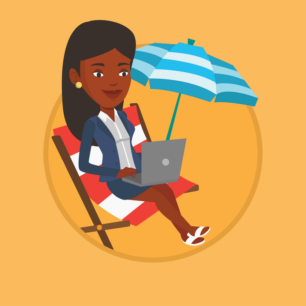 Woman working on the beach. Business woman sitting in chaise lounge under beach umbrella. Business woman using laptop on the beach. Vector flat design illustration in the circle isolated on background