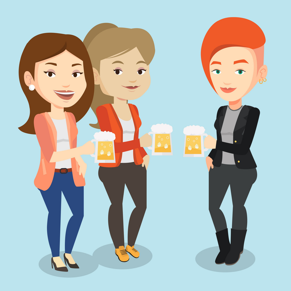 Women toasting and clinking glasses of beer. Caucasian women clanging glasses of beer. Group of friends enjoying a beer at pub. Vector flat design illustration. Square layout.