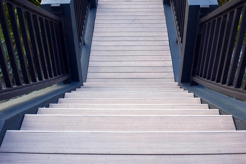 Wooden bridge stairs.