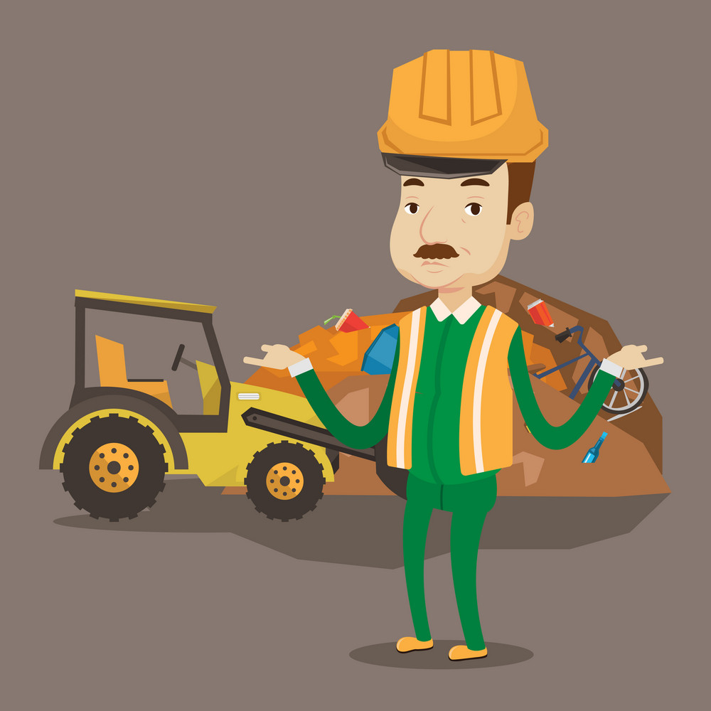 Worker in hard hat standing with spread arms on the background of rubbish dump and bulldozer working on landfill. Concept of environmental pollution. Vector flat design illustration. Square layout.