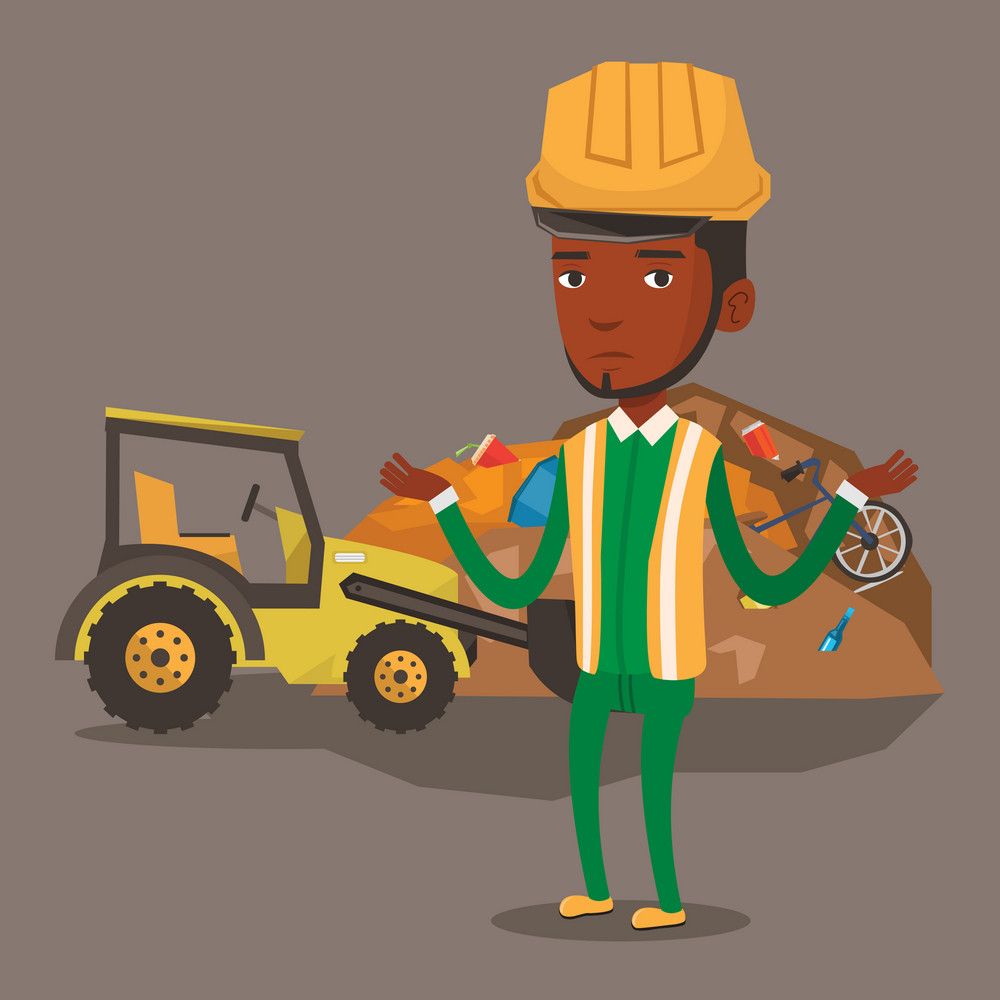 Worker of rubbish dump standing with spread arms. Man standing on the background of rubbish dump and bulldozer. African-american worker of rubbish dump. Vector flat design illustration. Square layout