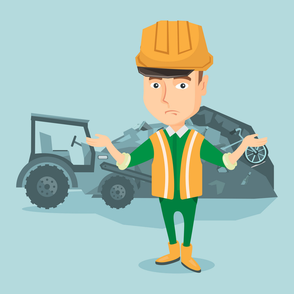 Worker of rubbish dump standing with spread arms. Man standing on the background of rubbish dump and bulldozer. Upset caucasian worker of rubbish dump. Vector flat design illustration. Square layout.