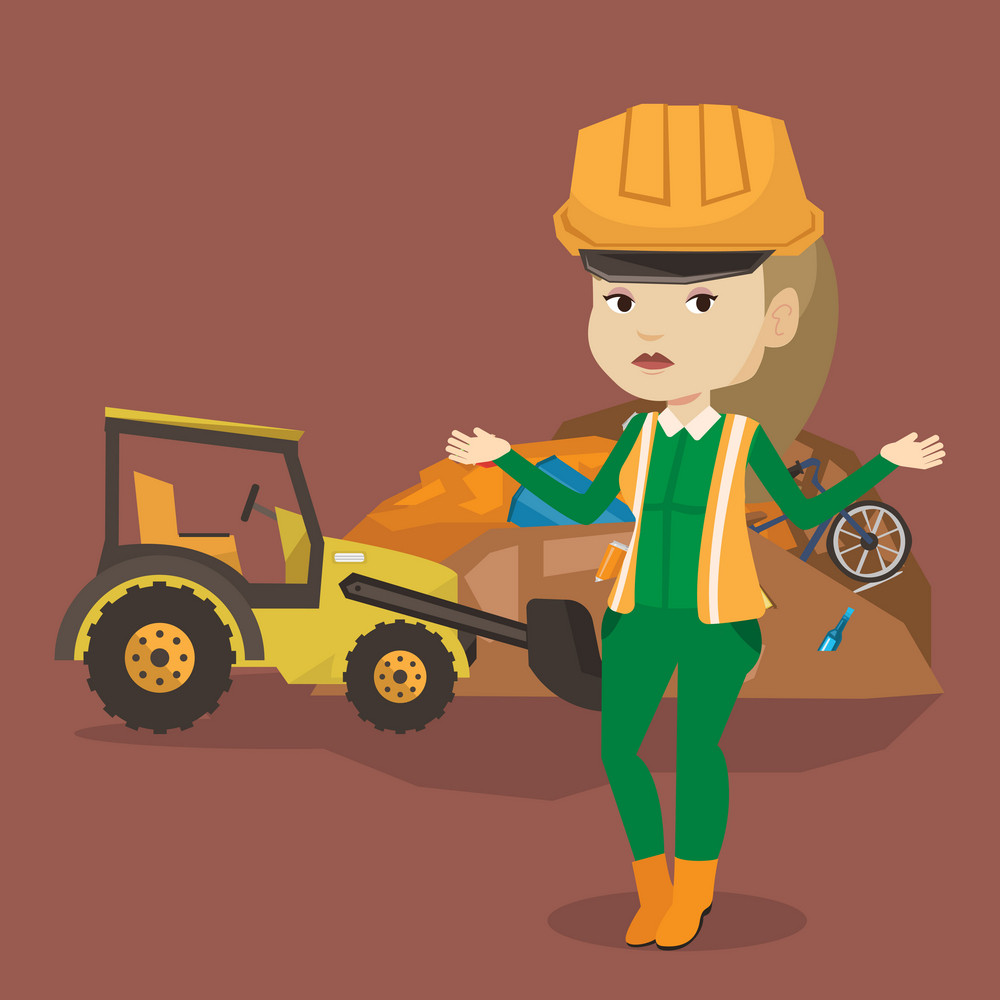 Worker of rubbish dump standing with spread arms. Woman standing on the background of rubbish dump and bulldozer. Young caucasian worker of rubbish dump. Vector flat design illustration. Square layout