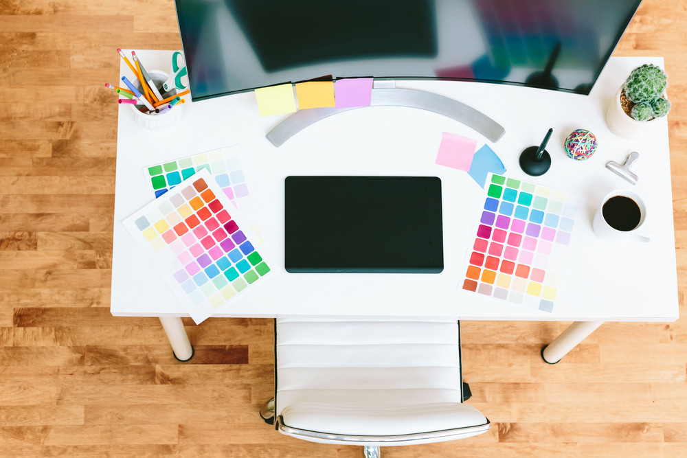 Working desk for Graphic designer with monitor and pen tablet