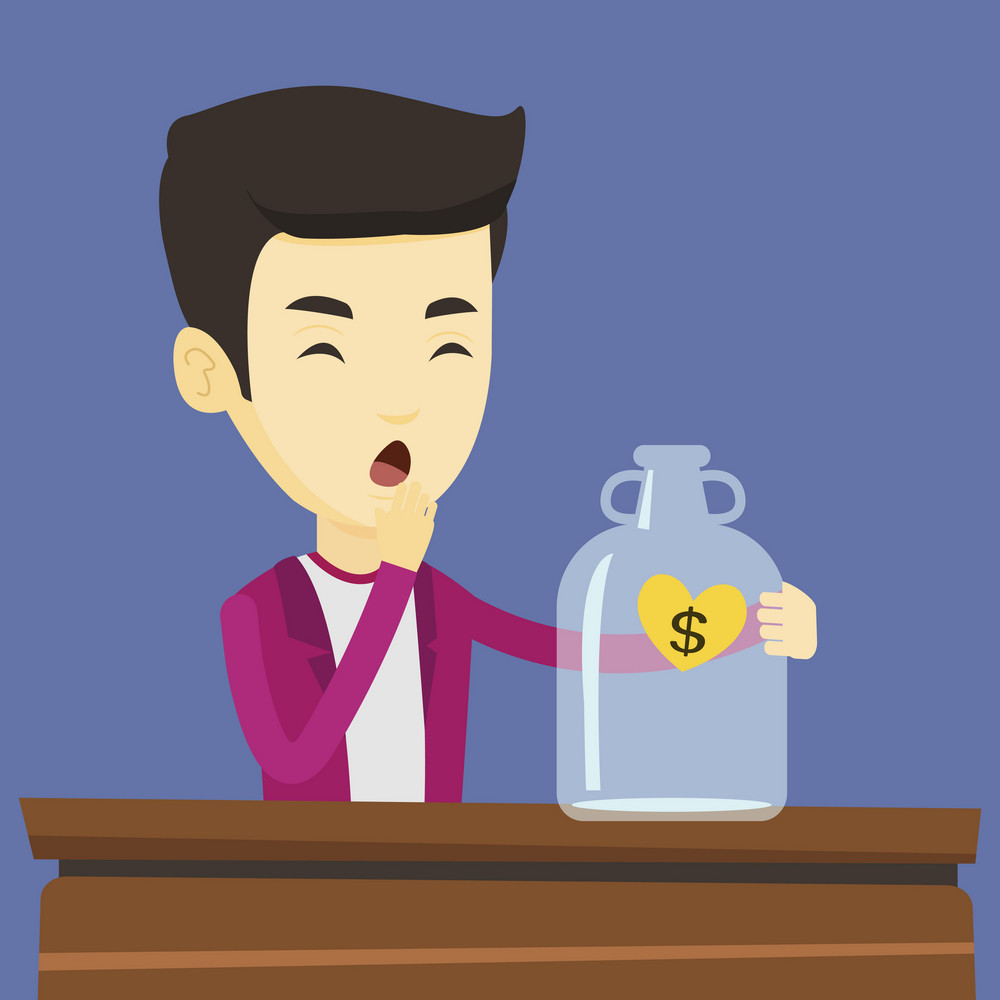 Worried business bankrupt looking at empty money box with dollar sign. Desperate bankrupt sitting at the table with empty money box. Bankruptcy concept. Vector flat design illustration. Square layout.