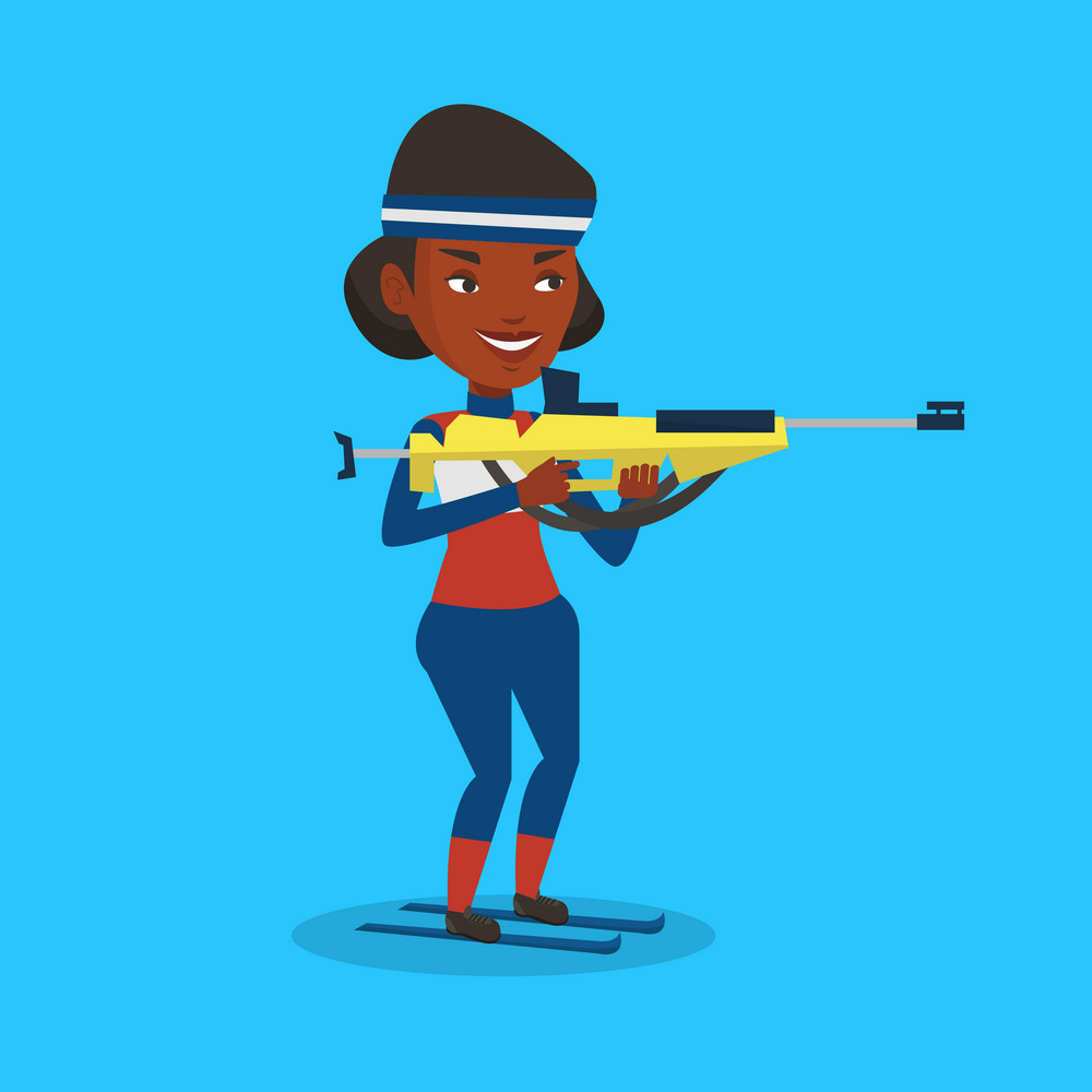 Young african-american biathlon taking part in ski biathlon competition. Biathlon runner aiming at the target. Female biathlon shooter with a weapon. Vector flat design illustration. Square layout.