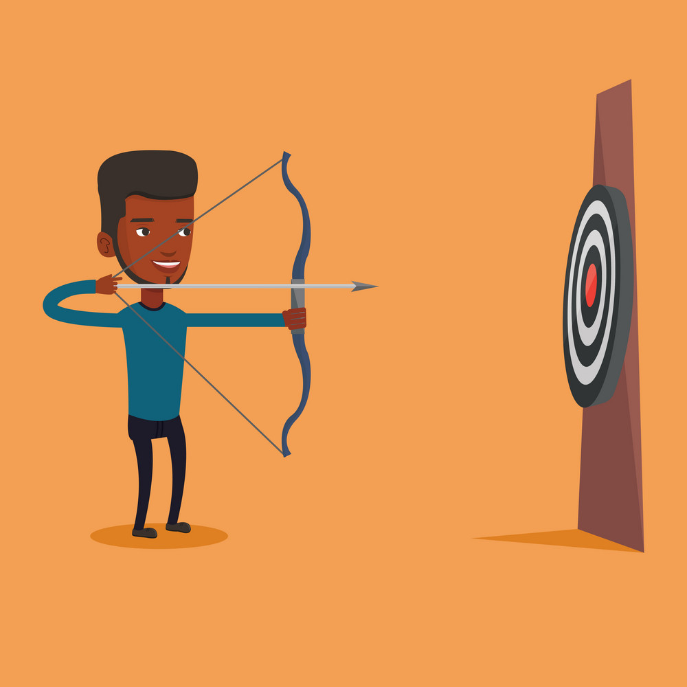Young african-american bowman shooting with bows during archery competition. Bowman aiming with bow and arrow at the target. Bowman practicing with bow. Vector flat design illustration. Square layout.
