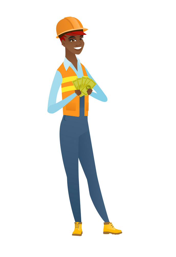 Young african-american builder holding money. Excited builder standing with money in hands. Full length of smiling builder with money. Vector flat design illustration isolated on white background.