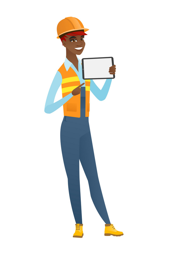 Young african-american builder holding tablet computer. Full length of builder pointing at tablet computer. Builder with tablet computer. Vector flat design illustration isolated on white background.