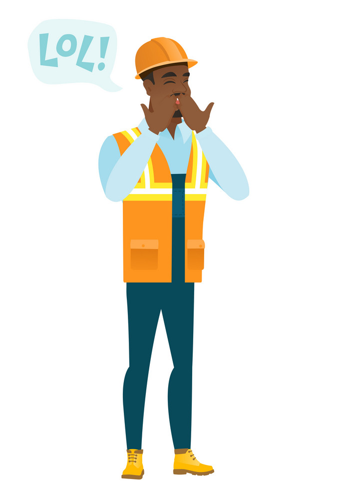 Young african-american builder laughing out loud. Builder and speech bubble with text - lol. Builder laughing out loud and covering mouth. Vector flat design illustration isolated on white background.