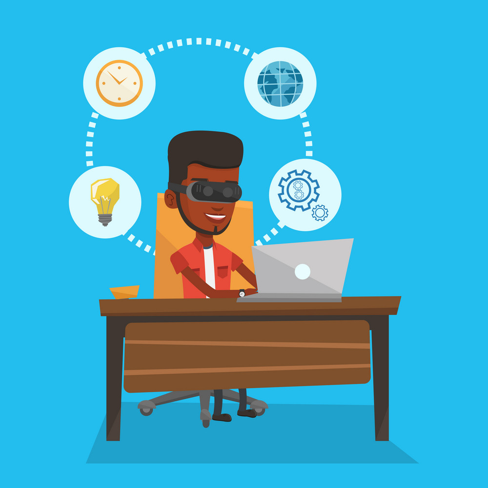 Young african-american business man wearing virtual reality headset and working on computer. Happy business man using virtual reality device in office. Vector flat design illustration. Square layout.