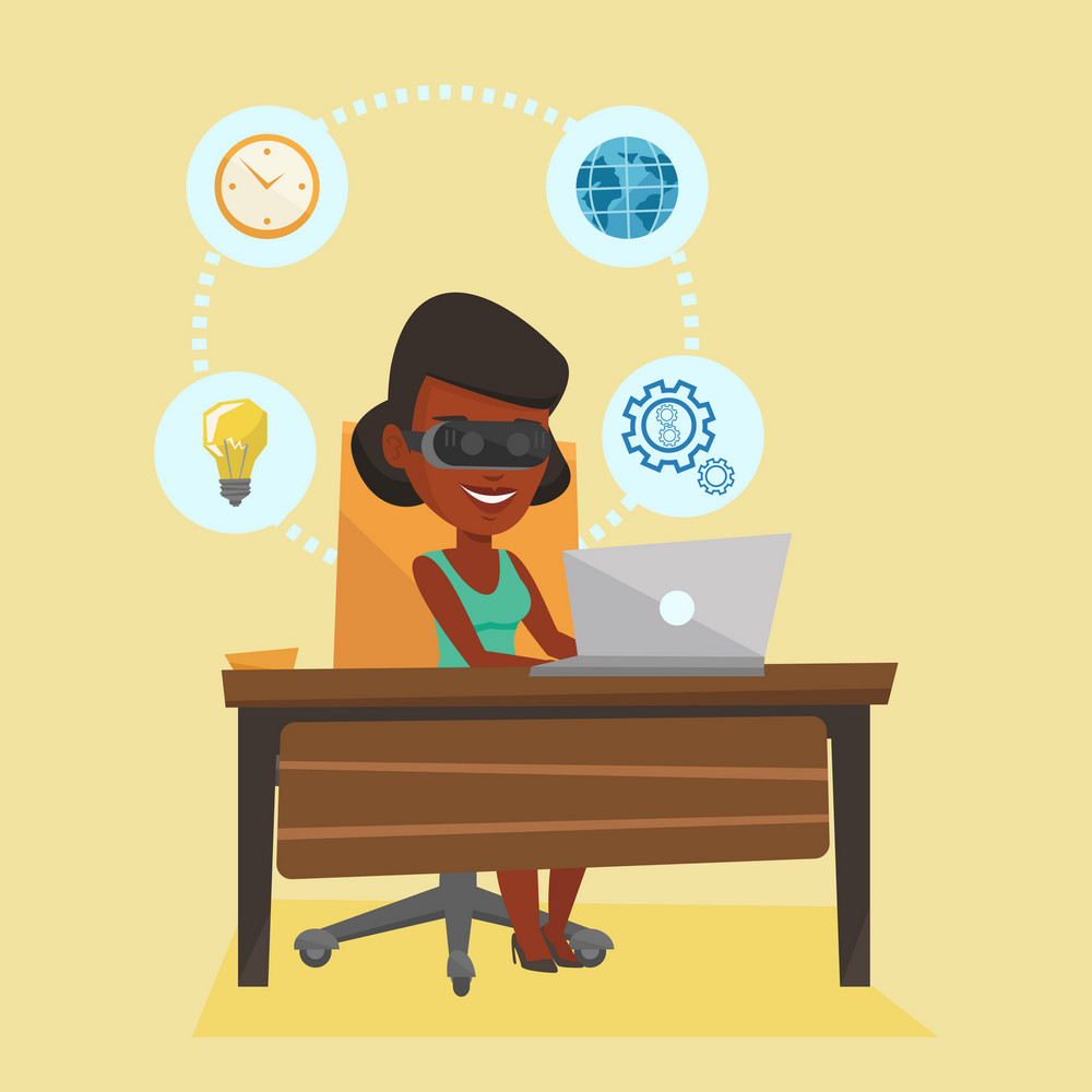 Young african-american business woman wearing virtual reality headset and working on computer. Business woman using virtual reality device in office. Vector flat design illustration. Square layout.