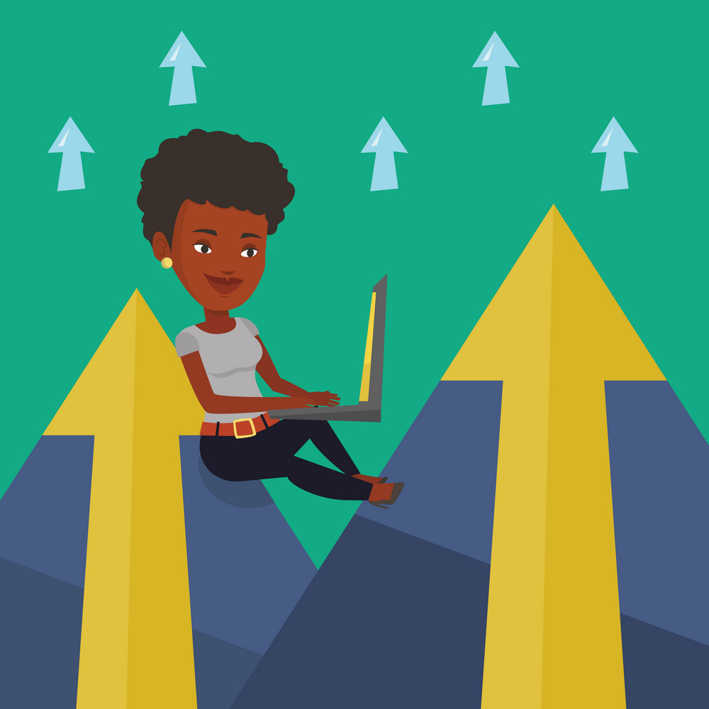 Young african-american business woman working on laptop on the mountain. Smiling business woman sitting on the top of the mountain and using laptop. Vector flat design illustration. Square layout.