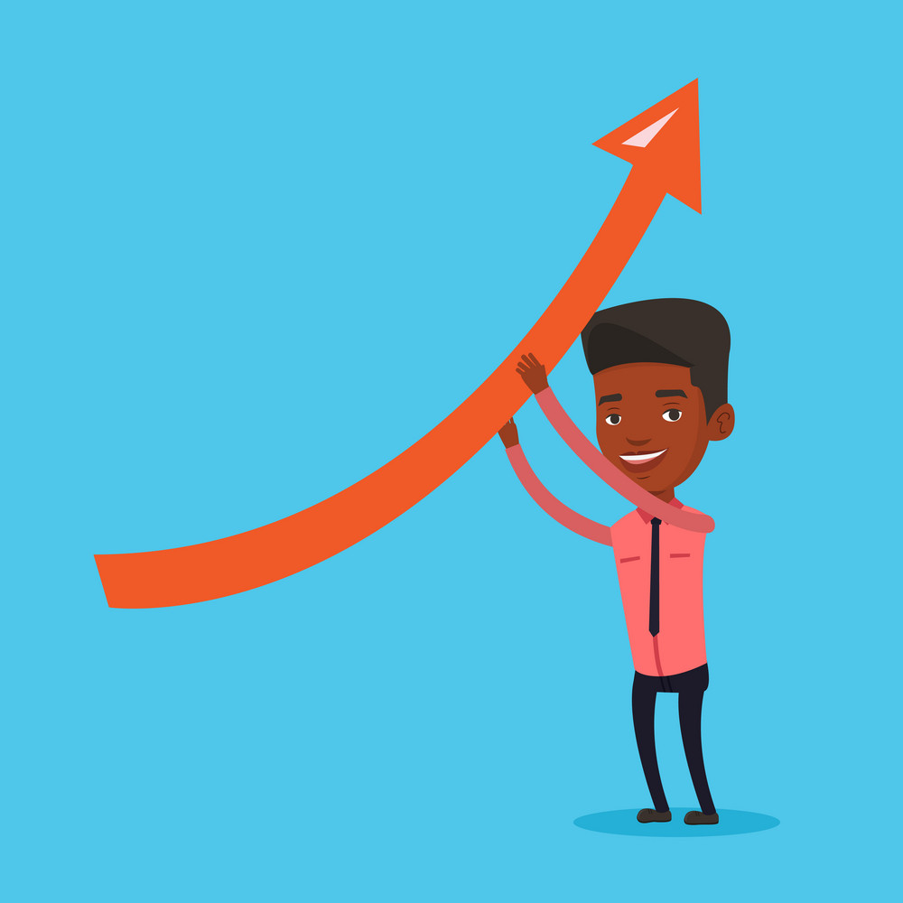 Young african-american businessman holding arrow going up. Successful businessman changing the path of an arrow to a positive increase. Vector flat design illustration. Square layout.