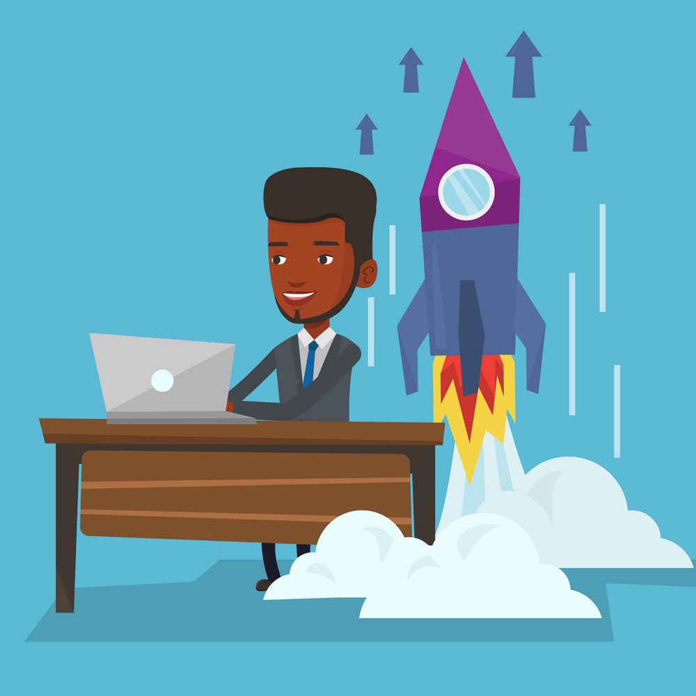 Young african-american businessman working on business start up and business start up rocket taking off behind him. Business start up concept. Vector flat design illustration. Square layout.