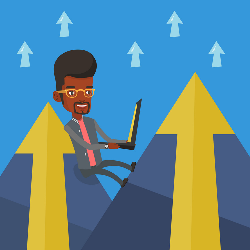 Young african-american businessman working on laptop on the mountain. Smiling businessman sitting on the top of the mountain and using laptop. Vector flat design illustration. Square layout.