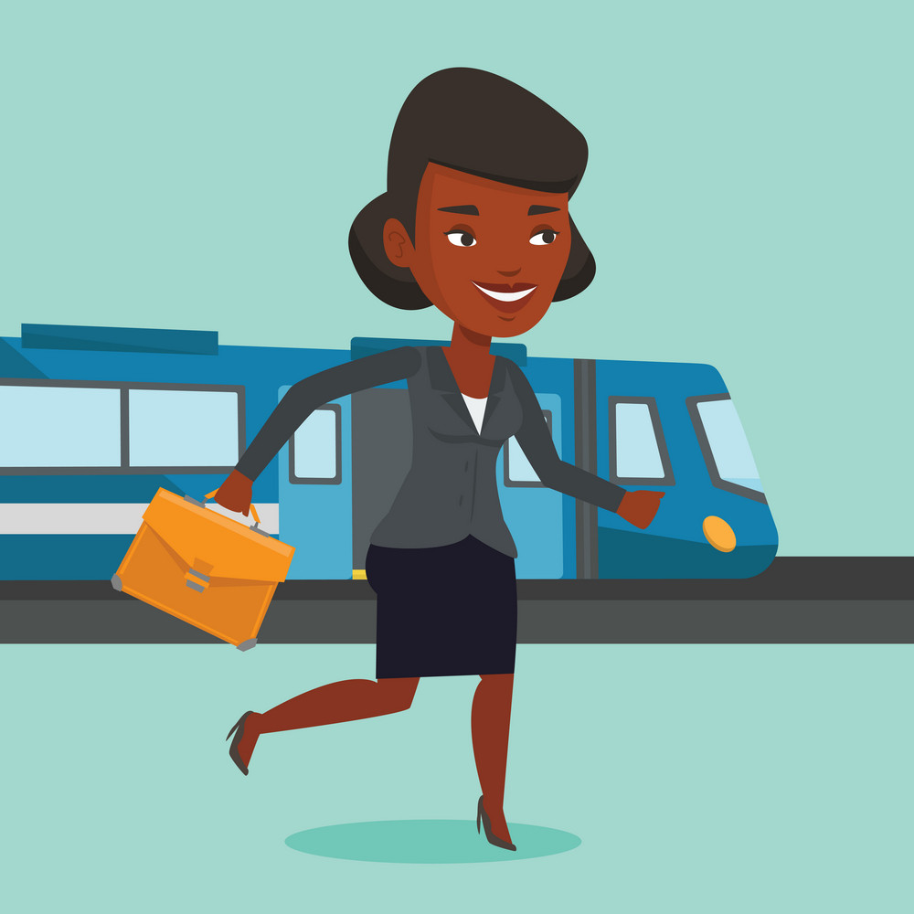 Young african-american businesswoman walking on the train platform. Businesswoman going out of train. Happy business woman walking on the train station. Vector flat design illustration. Square layout.