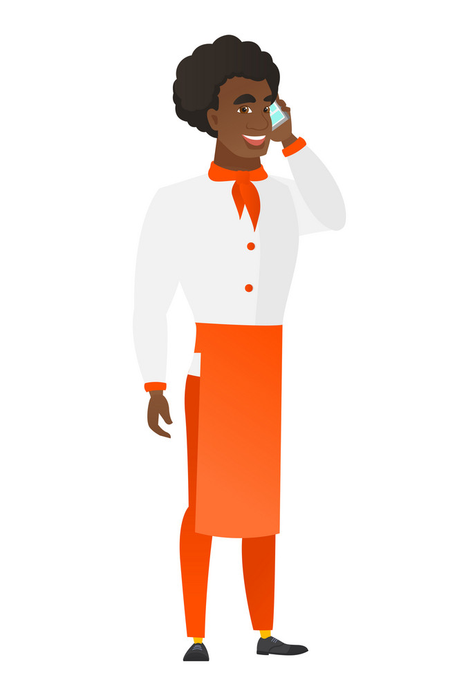 Young african-american chef cook in uniform talking on a mobile phone. Smiling chef cook talking on a cell phone. Chef using cell phone. Vector flat design illustration isolated on white background.
