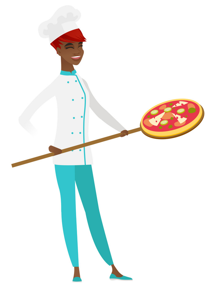 Young african-american chef cook preparing pizza. Smiling chef cook holding pizza on spatula. Full length of happy chef cook with a pizza. Vector flat design illustration isolated on white background.