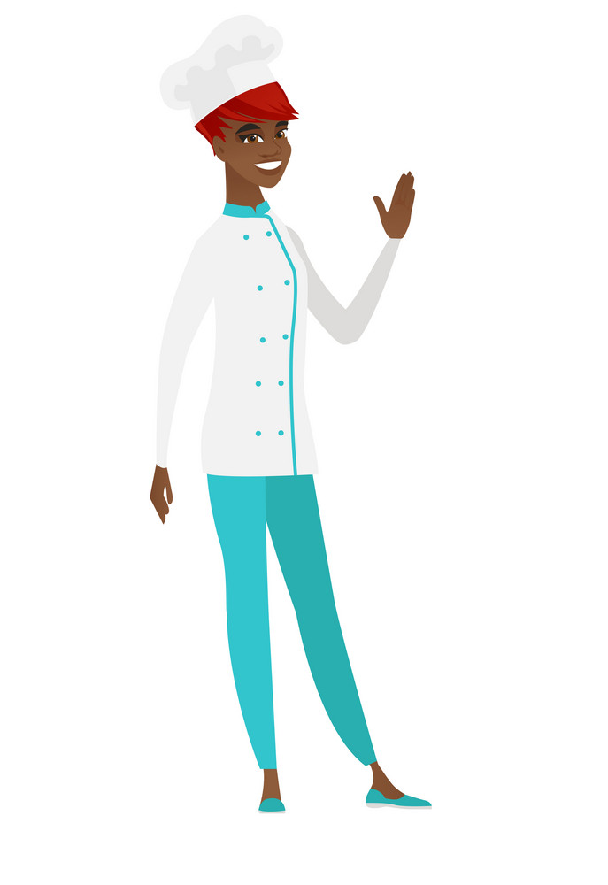 Young african-american chef cook waving her hand. Full length of chef cook waving hand. Chef cook making greeting gesture - waving hand. Vector flat design illustration isolated on white background.