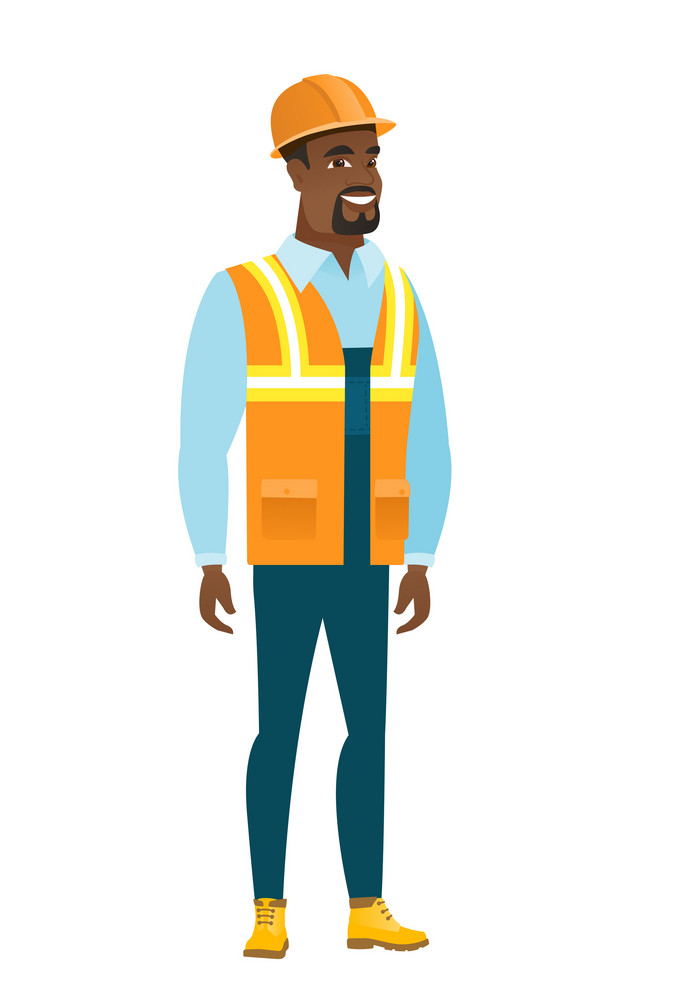 Young african-american confident builder in hard hat. Full length of confident builder. Builder standing in a pose signifying confidence. Vector flat design illustration isolated on white background.