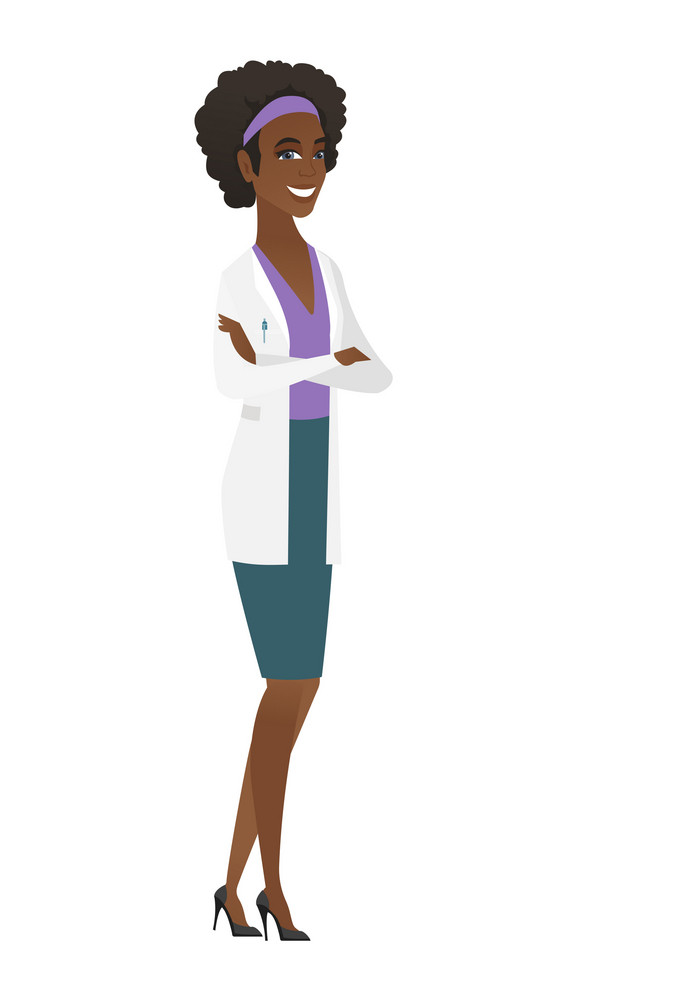 Young african-american confident doctor with folded arms. Full length of doctor with folded arms standing in a pose signifying confidence. Vector flat design illustration isolated on white background.