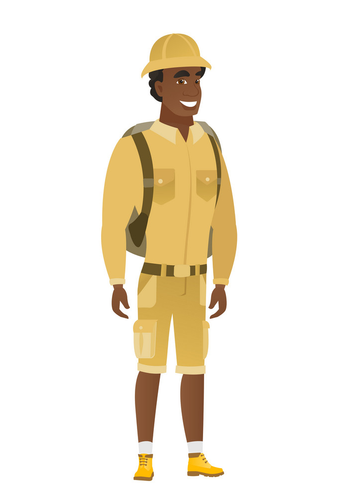 Young african-american confident traveler. Full length of smiling confident traveler. Traveler standing in a pose signifying confidence. Vector flat design illustration isolated on white background.