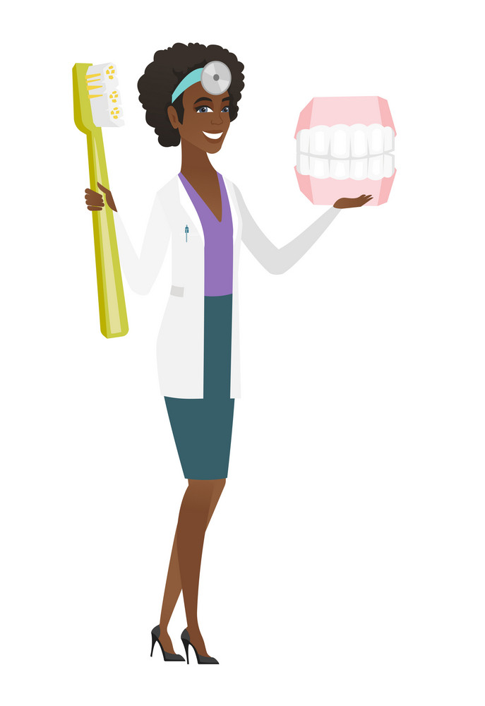 Young african-american dentist holding dental jaw model and a toothbrush in hands. Happy dentist showing dental jaw model and toothbrush. Vector flat design illustration isolated on white background.