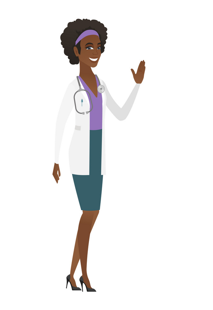 Young african-american doctor in medical gown waving hand. Full length of doctor waving hand. Doctor making greeting gesture - waving hand. Vector flat design illustration isolated on white background