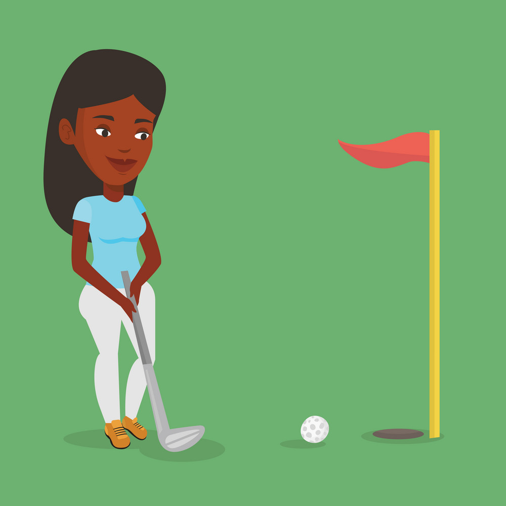 Young african-american female golfer playing golf. Young golfer hitting the ball in the hole with red flag. Professional golfer on the golf course. Vector flat design illustration. Square layout.