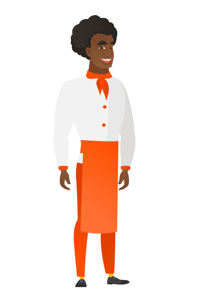 Young african-american happy chef cook in uniform. Full length of smiling happy chef cook posing. Illustration of happy standing chef cook. Vector flat design illustration isolated on white background