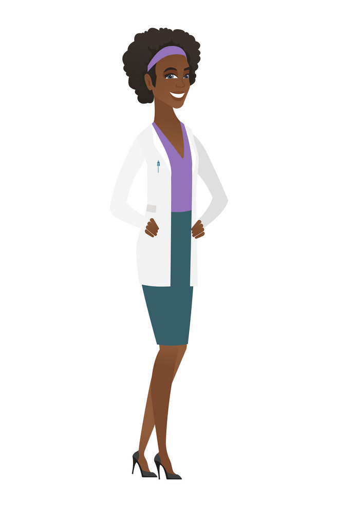 Young african-american happy doctor in medical gown. Full length of smiling happy doctor posing. Illustration of happy doctor standing. Vector flat design illustration isolated on white background.