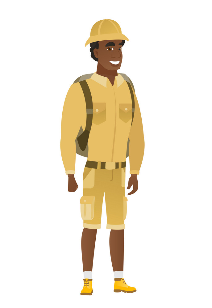 Young african-american happy traveler. Full length of smiling happy traveler posing. Illustration of happy standing traveler. Vector flat design illustration isolated on white background.