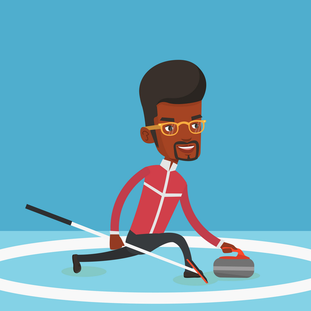 Young african-american male curling player with stone and broom on a rink. Male curling player delivering a stone. Curling player sliding over the ice. Vector flat design illustration. Square layout.