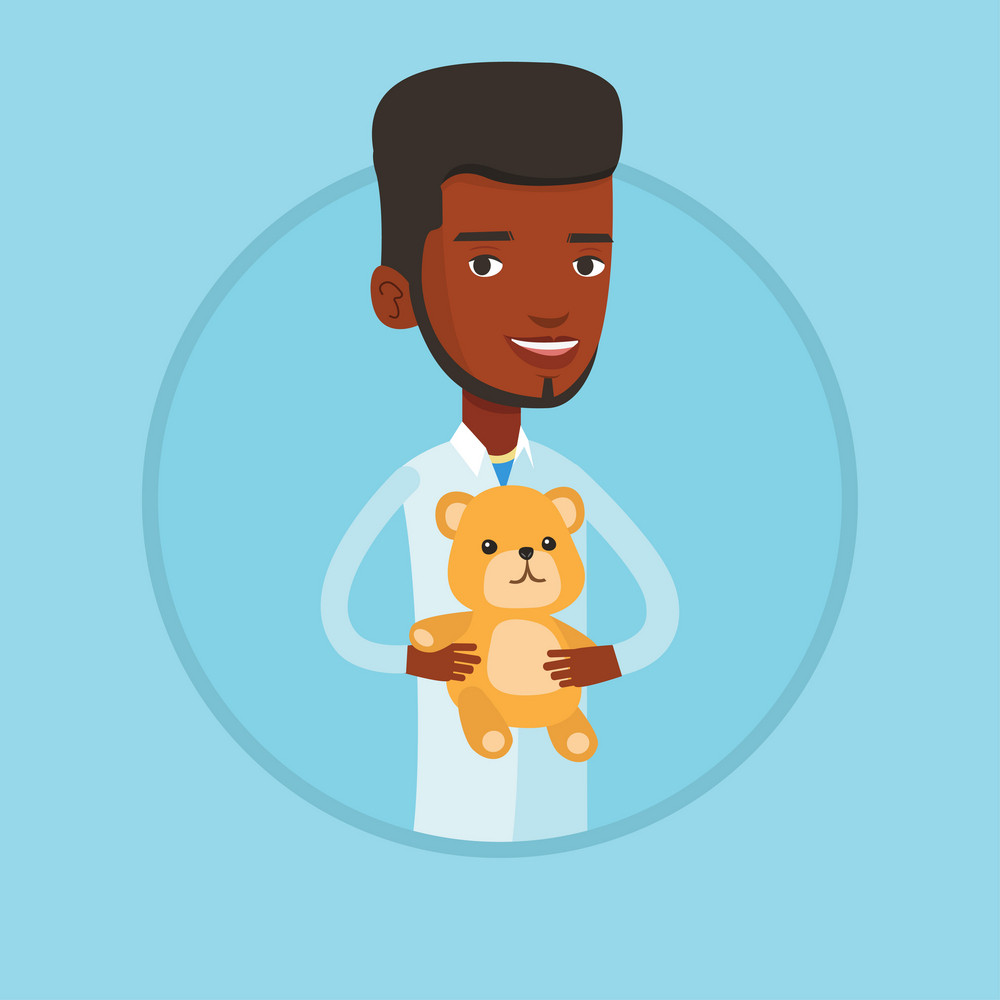 Young african-american male pediatrician doctor holding a teddy bear. Professional pediatrician doctor standing with a teddy bear. Vector flat design illustration in the circle isolated on background.