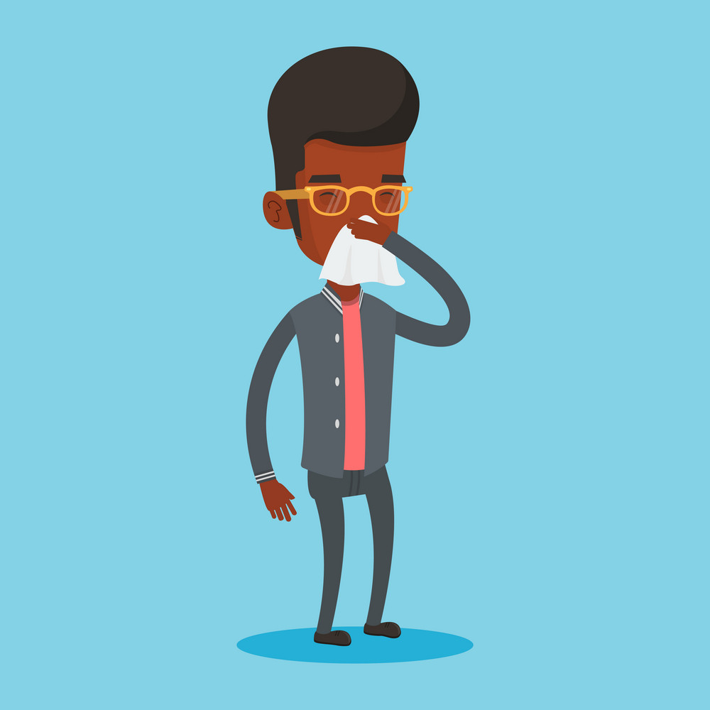 Young african-american man blowing his nose to paper napkin. Sick man sneezing. Unwell man having an allergy and blowing his nose to a tissue. Vector flat design illustration. Square layout.