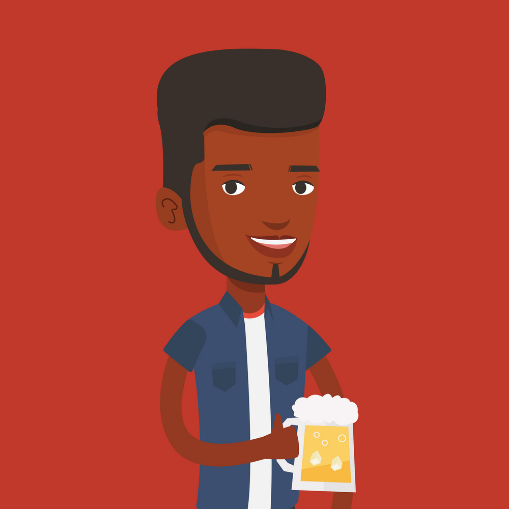 Young african-american man celebrating with beer. Smiling man holding a big glass of beer. Full length of male beer fan. Vector flat design illustration. Square layout.