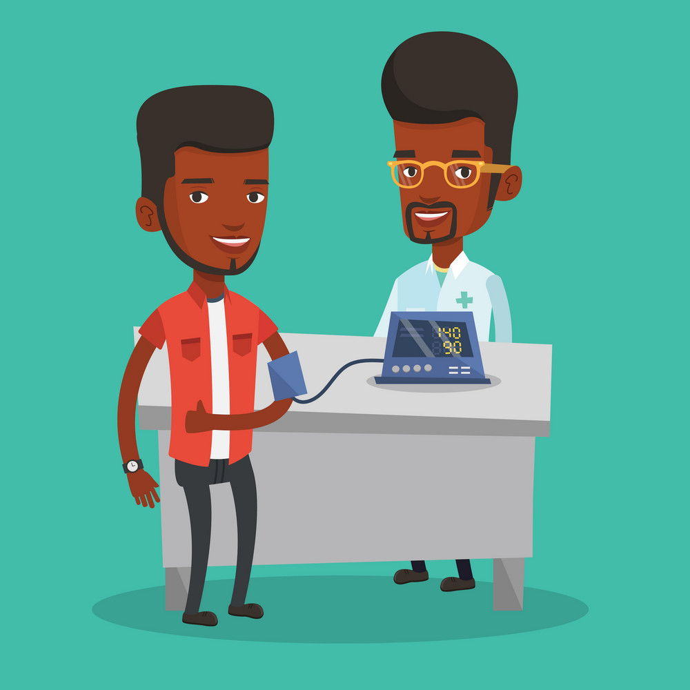 Young african-american man checking blood pressure with digital blood pressure meter. Man giving thumb up while doctor measuring his blood pressure. Vector flat design illustration. Square layout.