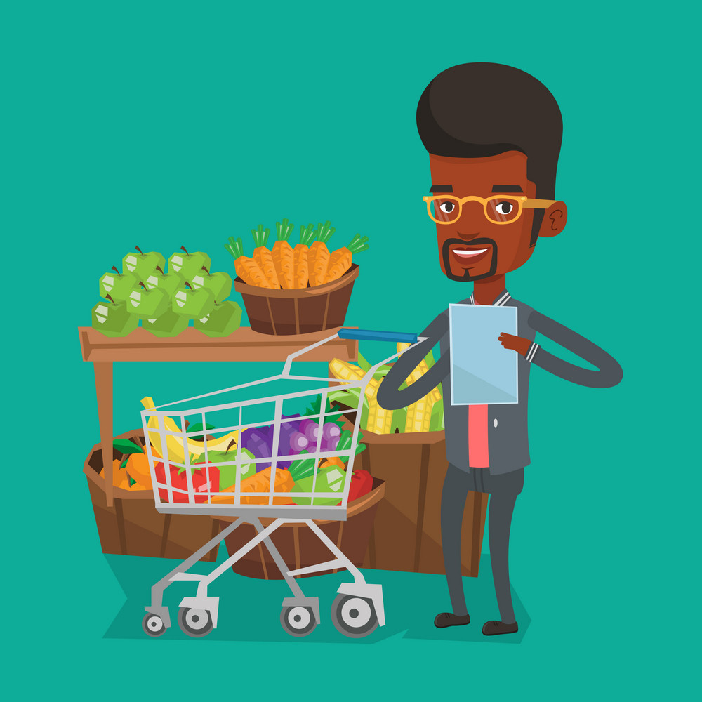 Young african-american man checking shopping list. Smiling man holding shopping list near trolley with products. Happy man writing in shopping list. Vector flat design illustration. Square layout.