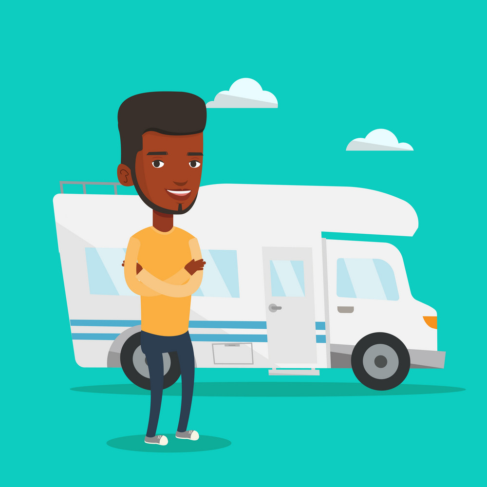 Young african-american man enjoying her vacation in motor home. Happy man standing with arms crossed in front of motor home. Man traveling by motor home. Vector flat design illustration. Square layout