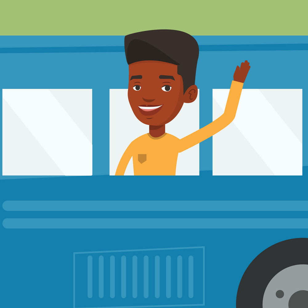 Young african-american man enjoying his trip by bus. Passenger waving hand from bus window. Smiling tourist peeking out of bus window and waving hand. Vector flat design illustration. Square layout.