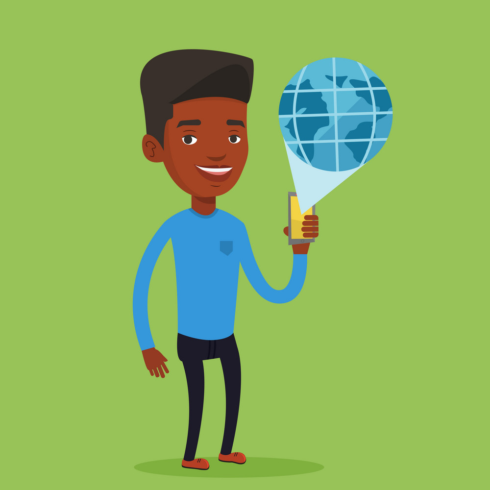 Young african-american man holding a smartphone with a model of planet earth coming out of the device. International technology communication concept. Vector flat design illustration. Square layout.
