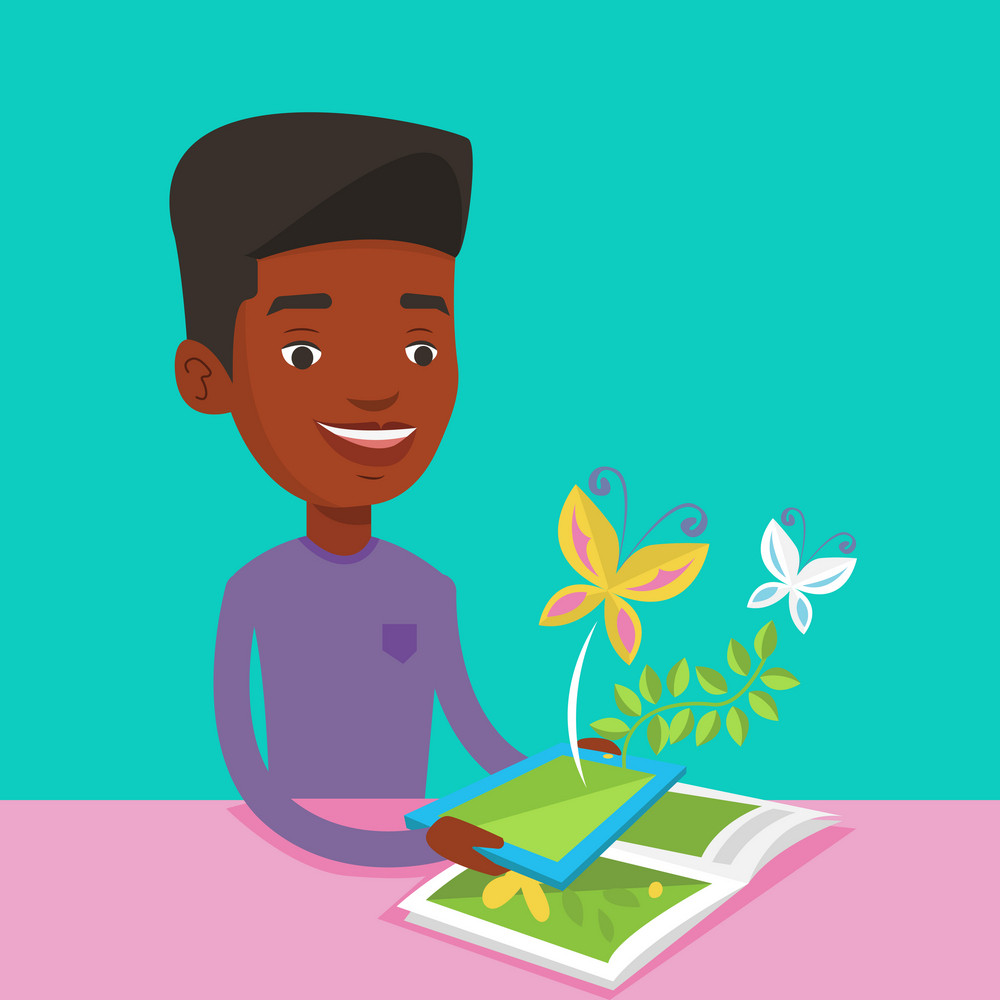 Young african-american man holding digital tablet above the book.Man looking at butterflies flying out from digital tablet. Concept of agmented reality. Vector flat design illustration. Square layout.