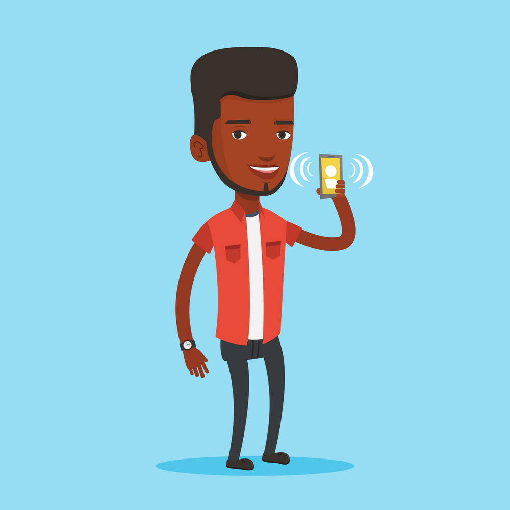 Young african-american man holding ringing mobile phone. Smiling man answering a phone call. Man standing with ringing phone in hand. Vector flat design illustration. Square layout.